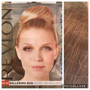 Medium brown hair bun wig